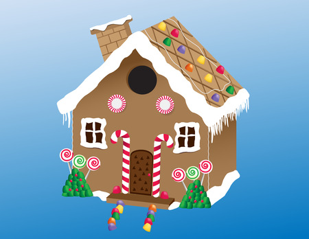 An illustration of a delicious homemade gingerbread house with gum drops, lollipops and candy canes.