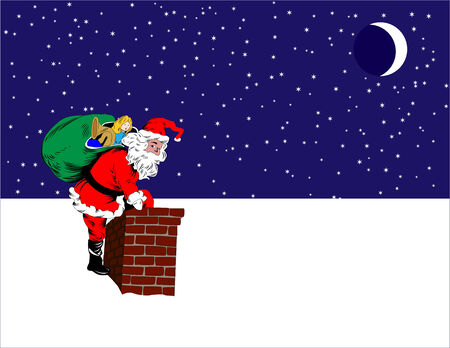Santa Claus ready to go down the chimney on the snow-covered roof on Christmas eve. Ilustração