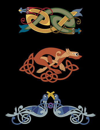 Celtic beasts, including 2 snakes intertwined, a lioness, and 2 birds. Illustration