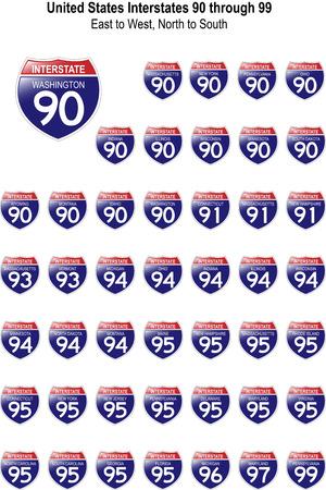 미국 고속도로 표지판 I-90에서 I-99까지 각기 다른 모습의 반사 형 표면 일러스트