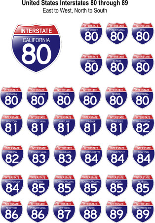 US Interstate Signs I-80 through I-89 with reflective-looking surface.