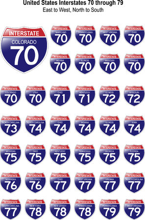 thoroughfare: US Interstate Signs I-70 through I-79 with their respective states, with reflective-looking surface. Illustration