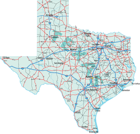 Texas staat Interstate en US Highway Kaart Stock Illustratie