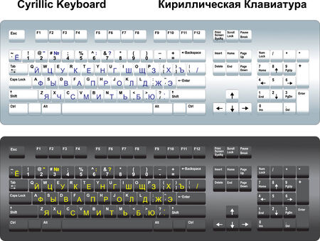 cyrillic: Two Cyrillic keyboards with standard Russian layout.