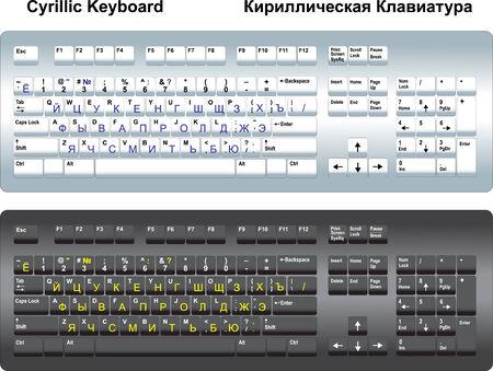 Zwei kyrillische Tastatur mit Standard-Layout Russisch. Standard-Bild - 4063567