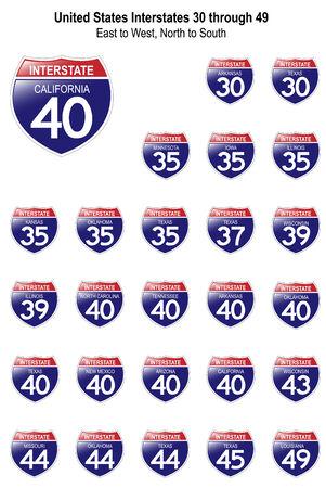 米国高速道路標識は-30 ~ 私は 49 反射サーフェスと、それぞれの州で。  イラスト・ベクター素材