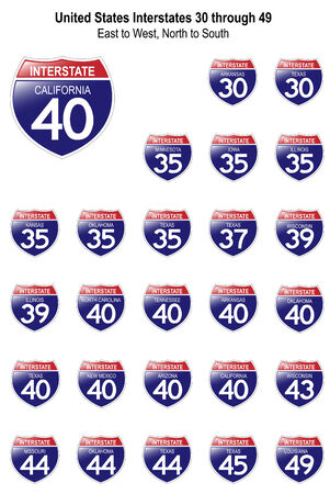 US Interstate Signs I-30 through I-49 with their respective states, with reflective-looking surface.