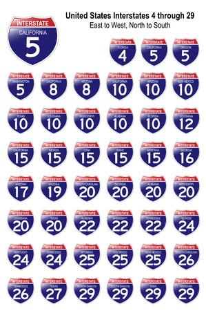 米国高速道路の標識私は-4 ~ 私は 29 見ている反射表面と、それぞれの州で。
