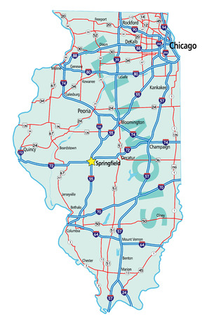 Illinois state road map with Interstates and U.S. Highways. All elements on separate layers for easy editing.