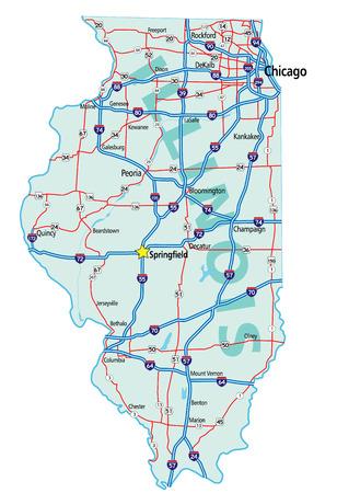 イリノイ州、米国高速道路と高速道路の道路地図。簡単に編集用の個別のレイヤー上のすべての要素。 写真素材 - 4084118