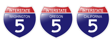United States Interstate 5 Signs, from Washington to California, with reflective-looking surface.
