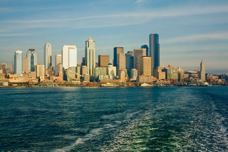 The Seattle, Washington skyline from a ferry boat in the Puget Sound, on a bright, sunny day. photo