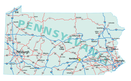 Pennsylvania state road map with Interstates and U.S. Highways.