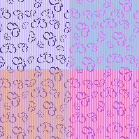 Butterfly Stripes met 4 verschillende naadloze tegels, alle in lavandel tonen. Stock Illustratie