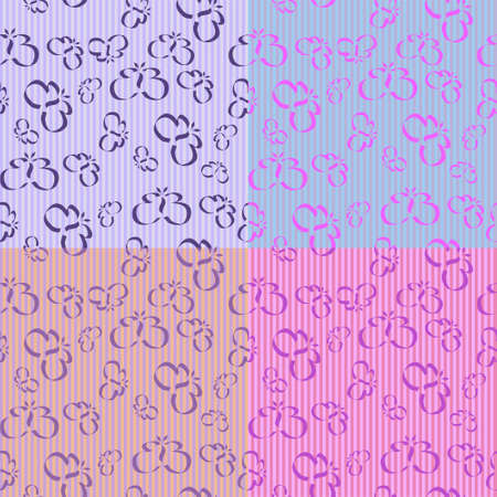Butterfly Stripes with 4 different seamless tiles, all in lavender tones. Stock Vector - 4857270