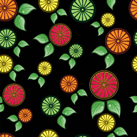Citrus Seamless Tile with oranges, limes, lemons and grapefruits, on a black background, tile seamlessly. Çizim