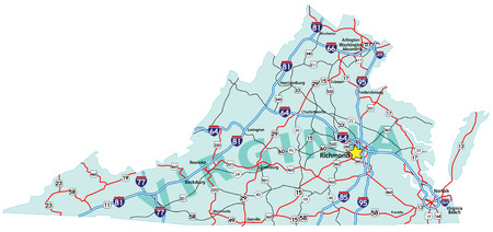 Virginia State Road Map With Interstates And U S Highways All Elements On 3 Separate Layers