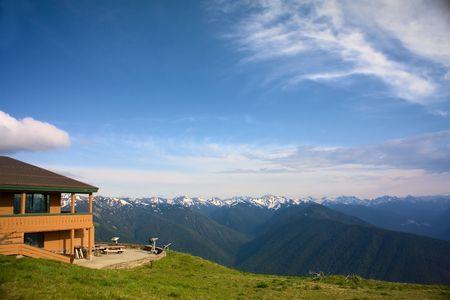 olimpo: El lodge de monta�a en el hurac�n Ridge, Olympus Forestal Nacional, Washington, EE.UU..