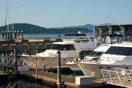 puget sound: Motoscafi di lusso agganciata a un porto turistico a Anacortes Isola sul Puget Sound, Washington. Archivio Fotografico
