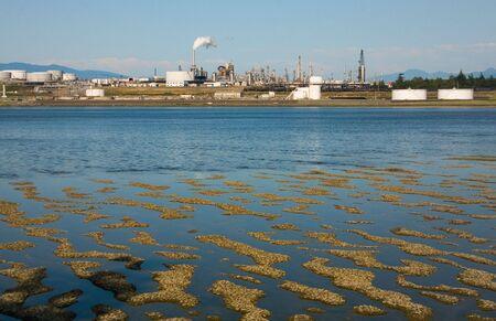 puget sound: Una raffineria di petrolio a Washington Anacortes Isola sul Puget Sound, Washington, durante la bassa marea.