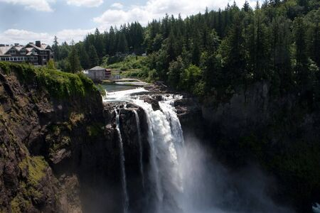 The Snoqualmie Falls and its hydroelectric plant. These falls are higher than Niagara Falls and are located in western Washington state.