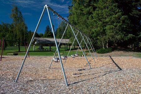bark mulch: A large toddler swing set in a beautiful park over bark mulch for safety.