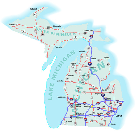 Michigan state road map with Interstates, U.S. Highways and state roads. All elements on separate layers for easy editing.