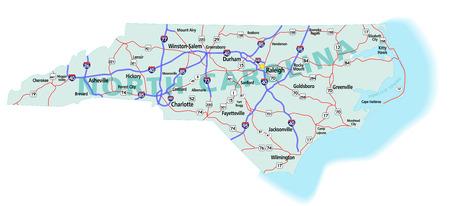 ノースカロライナ州道路地図高速道路、米国高速道路、州の道。簡単に編集用 (道路、都市、概要を記入) 別のレイヤー上のすべての要素。2009 年 12 月 3 日に作成されたマップ。ZIP ファイルが含まれている EPS 8 Adobe Illustrator ファイル イラストレーター CS3 写真素材 - 6104178