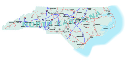 North Carolina state road map with Interstates, U.S. Highways and state roads. All elements on separate layers (Fill, Roads, Cities, Outline) for easy editing. Map created December 3, 2009.  ZIP File contains EPS-8 Adobe Illustrator file, Illustrator CS3  Иллюстрация