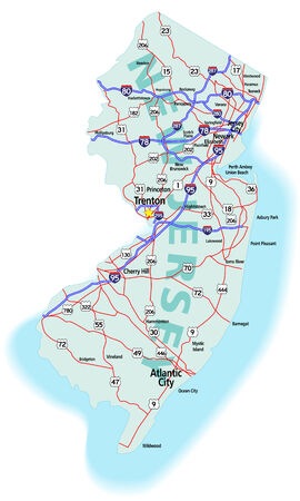 New Jersey state road map with Interstates, U.S. Highways and state roads. All elements on separate layers for easy editing. Map created December 17, 2009.