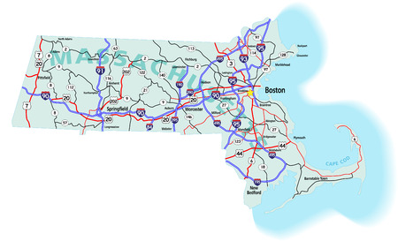 municipalit�: Massachusetts state road map with Interstates, U.S. Highways and state roads.