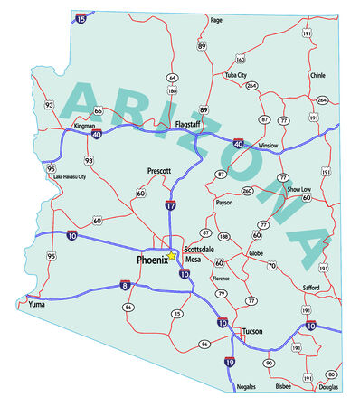 mileage: Arizona state road map with Interstates, U.S. Highways and state roads. Illustration