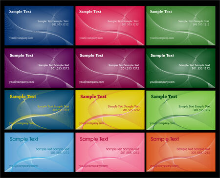 12 colorful business card layouts with gradient mesh and copyspace.