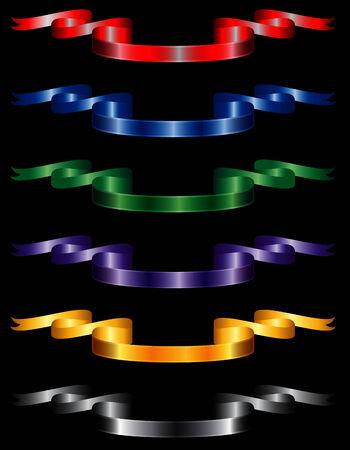 Six elegant metallic or silky ribbons set. Vector
