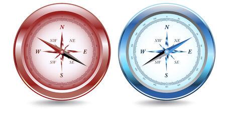 Deux boussoles, un rouge, un bleu métallique, avec une ombre portée. Banque d'images - 6245638