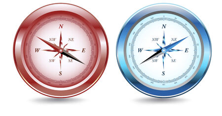 northeast: Two compasses, one red, one blue metallic, with drop shadow.