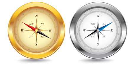 Two compasses, one gold, one silver, with drop shadow. Vectores