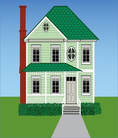 草、空、ジンジャーブレッドの木工品、煉瓦煙突を持つ背の高い緑ビクトリア朝の家。