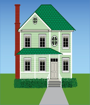 A tall green Victorian home with grass, sky, gingerbread woodwork and a brick chimney. Illustration