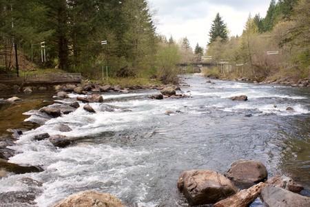 The white water and kayak slalom course of the Cedar River near Renton, Washington, USA.