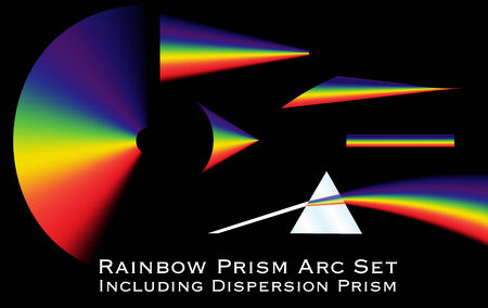 Collection of rainbow arcs including a dispersion prism illustration. Stock Illustratie