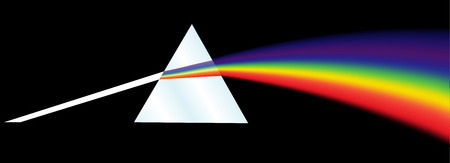 A dispersion prism illustration on a black background.
