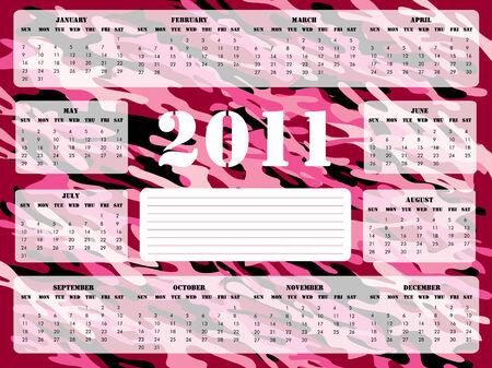 camoflage: A 2011 calendar on pink camoflage background, Sunday (USA) start.