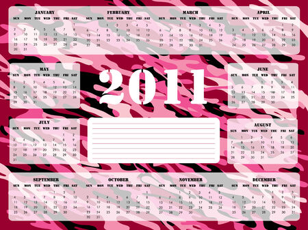 A 2011 calendar on pink camoflage background, Sunday (USA) start.