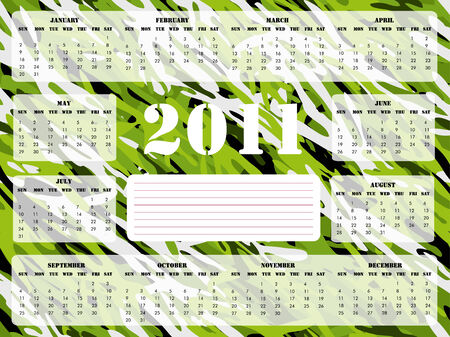 A 2011 calendar on green camouflage background, Sunday start. Vector