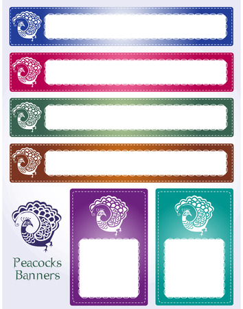 Six different peacock web banners with henna hand-drawn look.