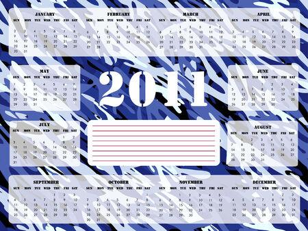 camoflage: A 2011 calendar on blue camoflage background, Sunday start.