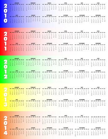 5-Year Calendar, 2010 through 2014 on colorful background, Sunday start. Vector