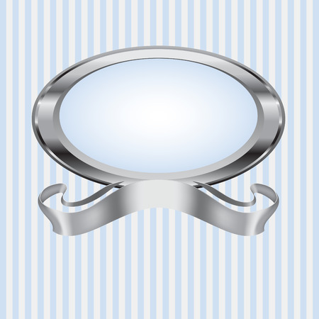 A silver pearl oval frame with silver ribbon on a blue and gray striped background.