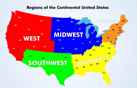 southwest: Regions of the Continental United States.  Source: Public domain National Planning Network (http:www.fhwa.dot.govplanningnhpn) and United States Federal Highway Administration (http:www.fhwa.dot.gov) maps.